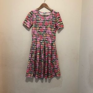 LulaRoe Amelia Midi Dress Pink Floral Sz Small